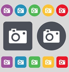 Camera icon sign a set of 12 colored buttons flat vector