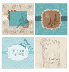 Set of floral retro cards vector