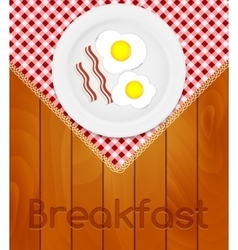 White Plate with Fried Eggs on Kitchen Napkin at vector image