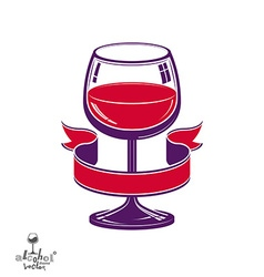 Realistic goblet of wine with decorative ribbon vector