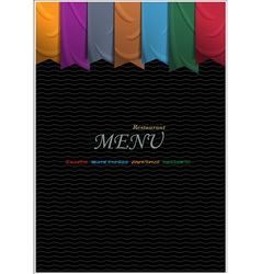 Vertical menu card design with ribbons vector