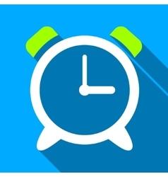 Alarm clock flat long shadow square icon vector