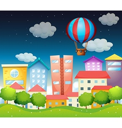 An air balloon at the city vector