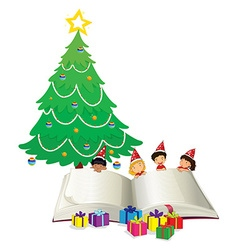 Big book and children by christmas tree vector image vector image