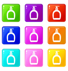 Bottle with liquid soap icons 9 set vector