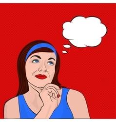 Brunette girl dreaming pop art vector image vector image