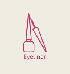 Cosmetic eyeliner thin line icon vector