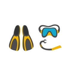 Diving mask snorkel flippers vector