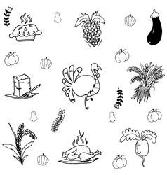 Doodle thanksgiving turkey and vegetable vector