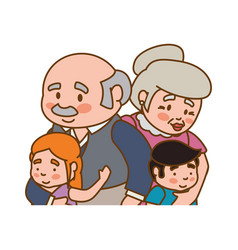 Elder couple children grandsons family vector