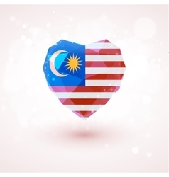 Flag of malaysia in shape diamond glass heart vector