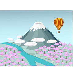 Fuji moutain and sakura forest in 3d vector
