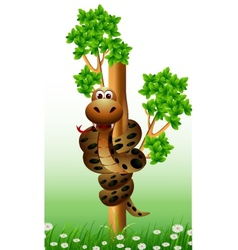 Funny snake on the tree vector