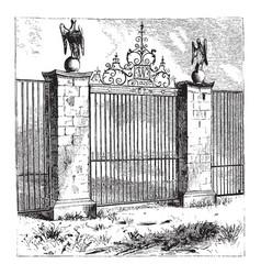 Gate walls vintage engraving vector