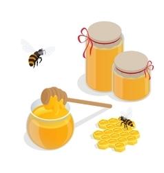 Glass jar full of honey and wooden honey dipper vector image