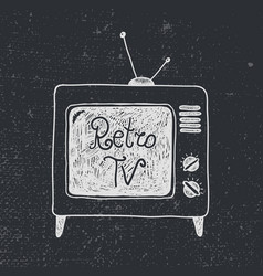 Hand drawn old retro tv vector