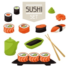 Icon set of various sushi vector image vector image