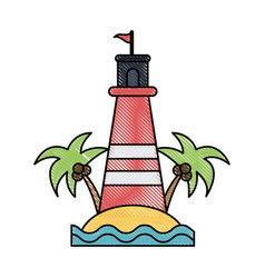 island beach lighthouse vector image vector image