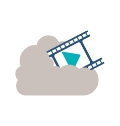 Isolated cloud computing and movie design vector