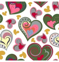 Love hearts seamless pattern Cute doodle heart vector image vector image