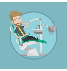 Man suffering from toothache in dental chair vector