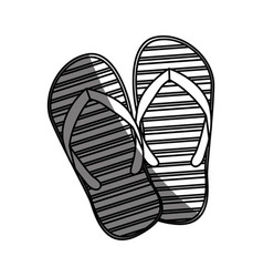 Monochrome silhouette of beach flip-flops with vector
