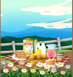 Scene with breakfast set on picnic cloth vector