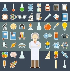 Sciense sticker icons vector image