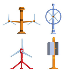 Set of different tidal power station rotters vector
