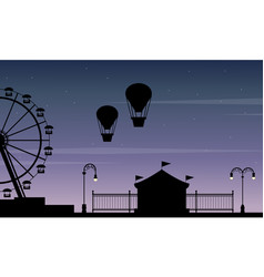 Silhouette amusement park beauty scenery vector