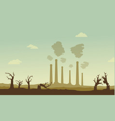 Silhouette of industry and broken forest vector