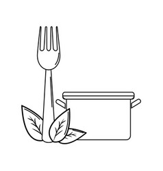 Silhouette pot kitchen with fork tool and leaves vector