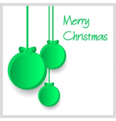 Three green paper christmas decoration baubles vector