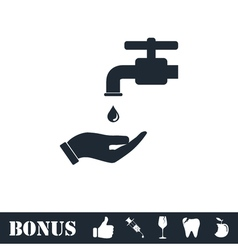 Wash your hands mandatory icon flat vector