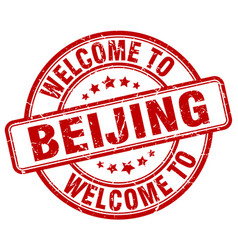 Welcome to beijing red round vintage stamp vector
