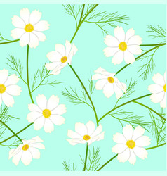White cosmos flower on green mint background vector