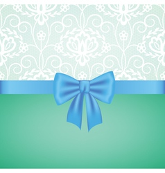 white guipure border with blue ribbon bow vector image vector image