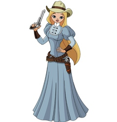 Young cowgirl vector