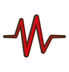 Red heart pulse rhythm icon vector