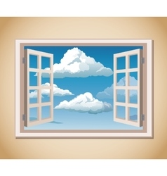 Room window blue sky clouds vector