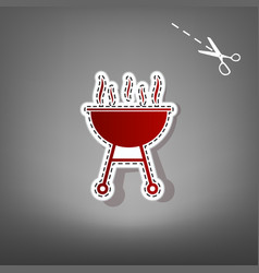 Barbecue simple sign  red icon with for vector