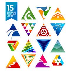 15 amazing triangle shape logos vector image