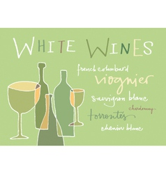 White wines varieties vector