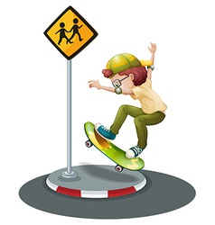 Boy and skateboard vector image