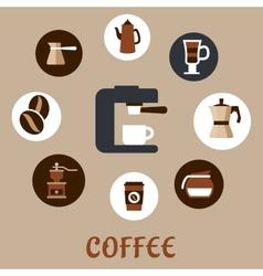Flat coffee icons around the coffee machine vector image