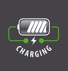 Logo battery charger and lightning vector