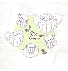 Hand drawn tea porcelain service set vector