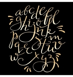 Gold flourish alphabet vector