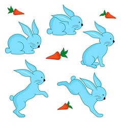 Set of five blue easter rabbits vector