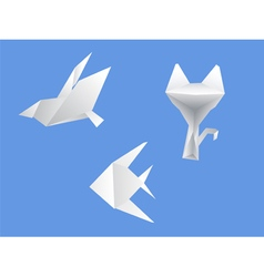 Set origami dove cat fish vector